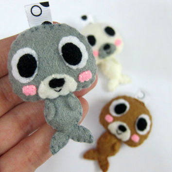 Cute Seal Keychain, Ornament, Magnet - Wilbert, Sean, Samuel