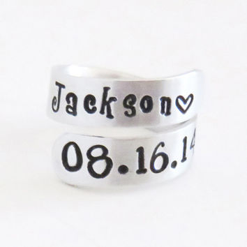 Customized child name and birthday ring - Gift for new mom new dad - New mother gift - New father gift