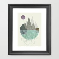 Waterfall Framed Art Print by FLATOWL