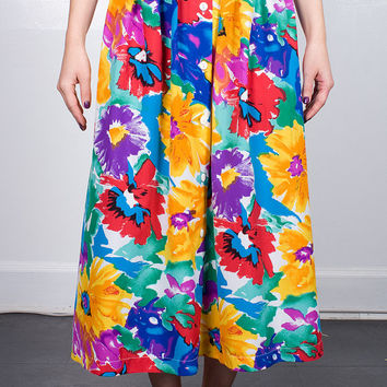 SOLD Vintage 1980s Floral Button Down Long Skirt