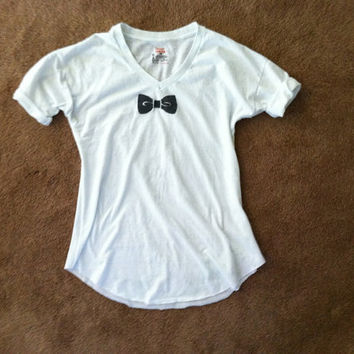 Bow Tie prim & proper hand stenciled white faux formal t shirt black white trompe l'oeil