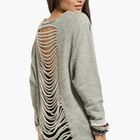French Terry Shredded Back Sweater $40