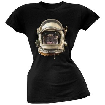 DCCKJY1 Astronaut Pug Black Soft Juniors T-Shirt