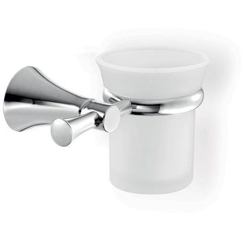 SCBA Fontana Wall Frosted Glass Toothbrush Toothpaste Holder Bath Tumbler, Brass