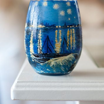 Starry Night Over the Rhone Stemless Hand Painted Wine Glass