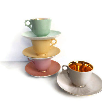 Figgjo Flint of Norway Espresso Tea or Coffee Set / Vintage Pastel Demitasse Tea Cups / Spring Time Tea Party