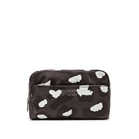 Canvas Printed Leopard Max Cosmetic Bag in Gunmetal Multi