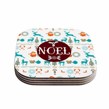 "Famenxt ""Noel"" Blue White Digital Coasters (Set of 4)"