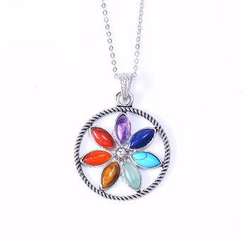 Reiki Natural Stones Chakra Pendant Necklace [19 variations]