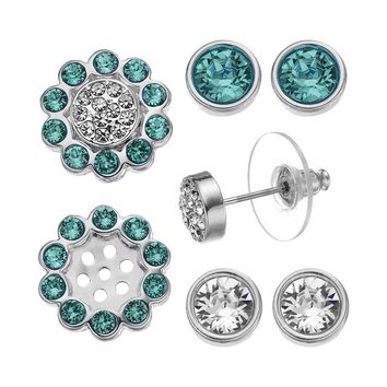 Crystal Colors Silver Tone Interchangeable Flower Jacket & Stud Earring Set - Made with Swarovski Elements (Green)