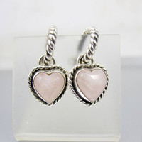 Rose Quartz Heart Earrings. Sterling Silver Rope Twist Semi Hoop Heart Dangle Earrings. Signed J. Rogers Jewelry.