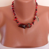 Necklace with Coral Jasper and Alpaca Silver by SwedishShop