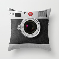 classic retro Black silver Leather vintage camera iPhone 4 4s 5 5c, ipod, ipad case Throw Pillow by Three Second