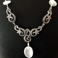 White sea glass marquisite necklace - sea glass necklace with silver marquisite