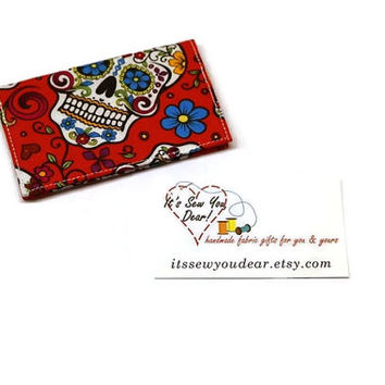 Sugar skulls minimalist cards wallet holder case. Business cards wallet. Under 10 stocking stuffer.