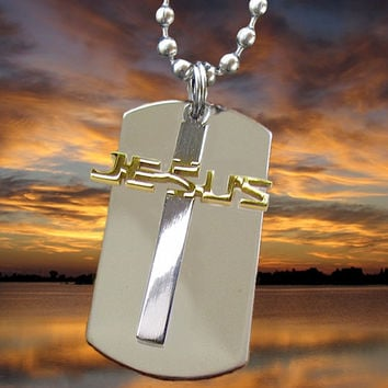 Silver Gold DogTag Necklace Pendant Jesus Cross Horizontal Cutout Stainless Steel Mens Boys Christian Jewelry - Saint Michaels Jewelry