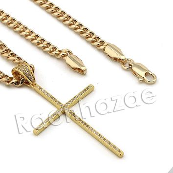Lab diamond Micro Pave Super Thin Jesus Cross Pendant w/ Miami Cuban Chain BR128