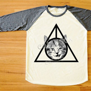 Cat Deathly Hallows T-Shirt Cat Shirt Animal Shirt Raglan Tee Long Sleeve Shirt Women Tee Shirt Men Shirt Unisex Shirt Baseball Shirt S,M,L