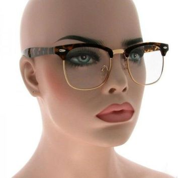 50's Classic Vintage Retro Clubmaster Tortoise Gold Frame Clear Lens Eyeglasses