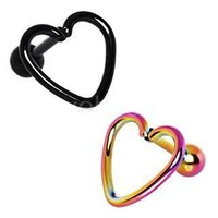 PVD Plated Love Struck Heart Cartilage Earring