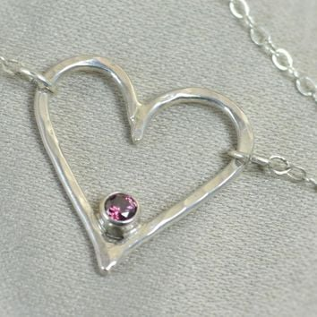 Sterling Silver Alexandrite Heart Necklace
