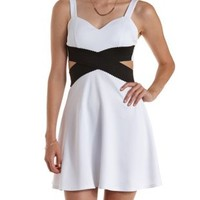 White/Black Bandage-Waist Cut-Out Skater Dress by Charlotte Russe