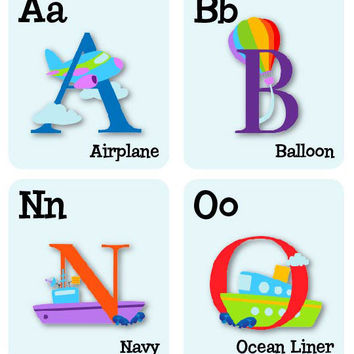 ABC wall decals Alphabet wall decals Illustrated Transportation stickers wall decor