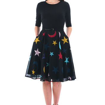 Celestial print mixed media belted dress