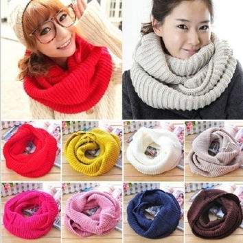 New Women Winter Warm Infinity 2Circle Cable Knit Cowl Neck Long Scarf Shawl = 1958246596