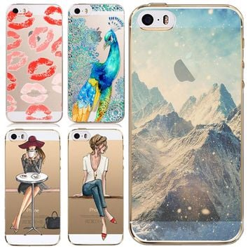 Phone Cases Cover for Apple iPhone 5 5S 5G SE Super Thin Soft TPU Clear Back Case Skin for iPhone 5S Phone Accessory Wholesale