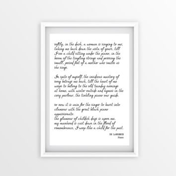 The Piano DH LAWRENCE, Inspirational Poetry Print