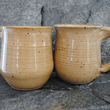 Set of TWO coffee mugs, pottery mugs, brown coffee cups, stoneware mug