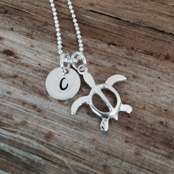 Personalized Sterling Silver Turtle Initial Charm Necklace, Custom Letter Pendant, Engraved Pendant, SeaTurtle, Monogram Disc, Gift for Her
