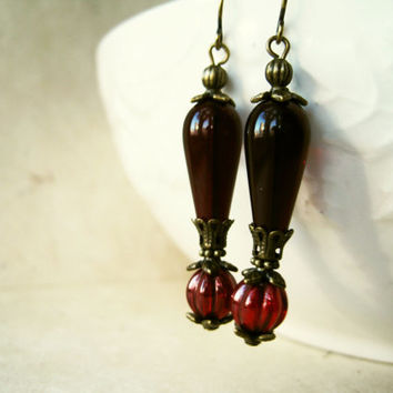 Garnet Red Czech Glass Earrings. Handmade Victorian Jewelry with Antique Bronze Accents. January Birthstone Earrings VTX1.