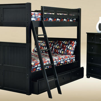 Beatrice Black Queen over Queen Bunk Bed