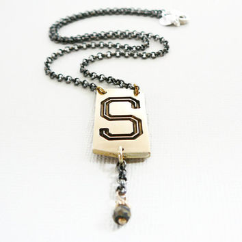 Personalised Pendant Initial S Necklace Sterling Oxidized Silver Chain antique letter monogram pyrite gemstone dangle