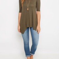 Olive Solid Sharkbite Tee | Active Tops | rue21