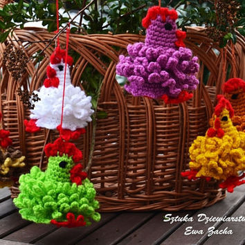 Three Crochet Easter egg decoration with red legs, Tree cozy Chicken egg warmers, egg cover ,crochet egg covers ,egg cozy chickens