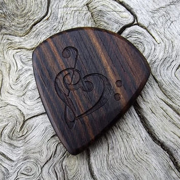 Handmade Mun Ebony - Jazz Stubby - Premium Wood Guitar Pick - Laser Engraved - Actual Pick Shown - Engraved Both Sides