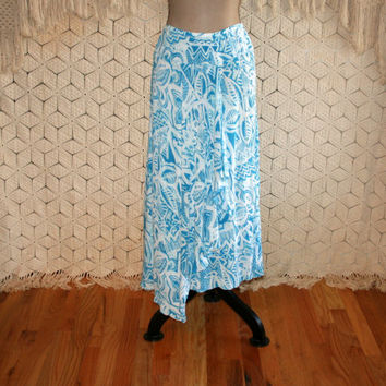 Boho Beach Skirt Ocean Blue + White Long Skirt Tribal Hawaiian Tropical Skirt Crinkle Gauze Long Boho Skirt XL Plus Size 16 Womens Clothing