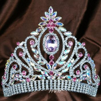 """Queen Princess 6"""" Tiara Floral Diadem Pink and Clear Rhinestones Crystal Handmade Crown Bridal Prom Pageant Party Costumes"""