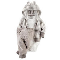 Carter's Boys 3 Piece Grey Terry Striped Hooded Cardigan, White Worlds Most Adorable Bodysuit and Bear Applique Pant Set