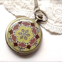 1-Bronze Pocket Watch Brown Yellow Maroon Floral Rhinestone Clock Display Necklace Inv0111