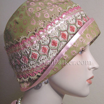 Antique Style Green Pink Silk Passementerie 1920s Gatsby Flapper Cloche Hat  by savannahparker