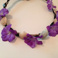 Purple flower and shell crown