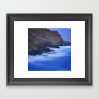 The force of the waves under the moonlight Framed Art Print by Guido Montañés