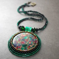 Beaded Pendant Crystal Glass Bead Woven Necklace Green Bronze Black