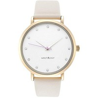 WRISTOLOGY Olivia Womens Chunky Gold Boyfriend Watch Beige Off White Leather Strap