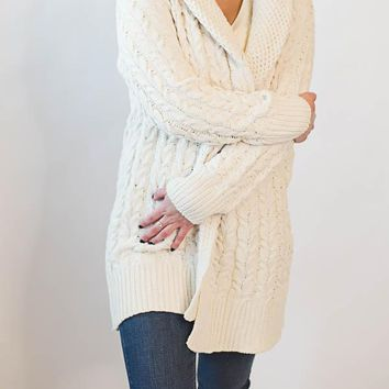Cable Knit Cardigan - Cream
