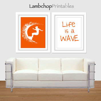 Girls surf art, Life is a Wave, Red Orange, 8x10, college dorm room art, teen girl art, surfer poster, surfing, surf art, surf printable